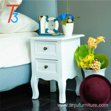 chinese white wood modern bedside table night stand Tri-Tiger
